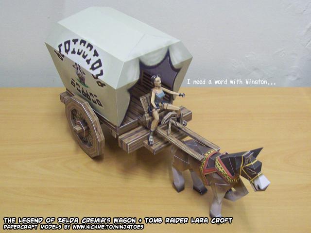 Lara's papercraft wagon by ninjatoespapercraft