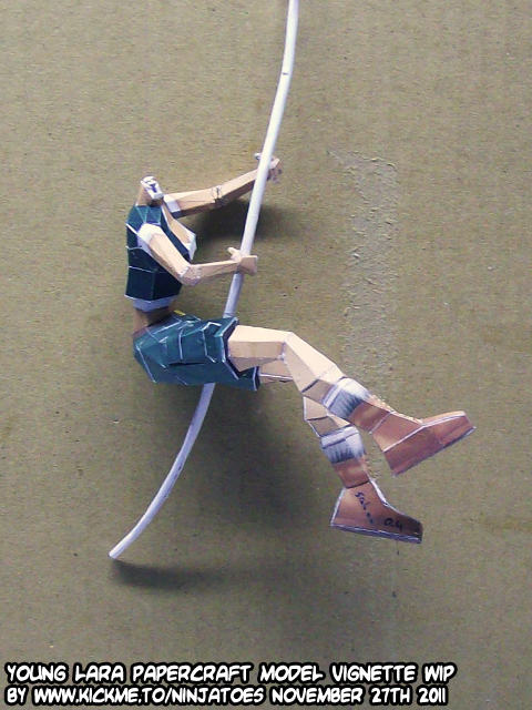 young Lara papercraft vignette WIP11 by ninjatoespapercraft