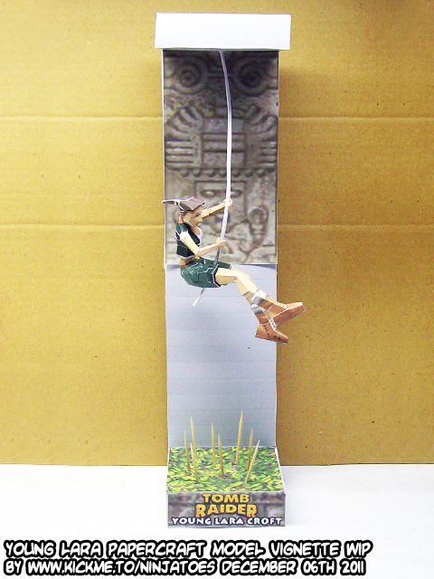 young Lara Croft papercraft test build by ninjatoespapercraft