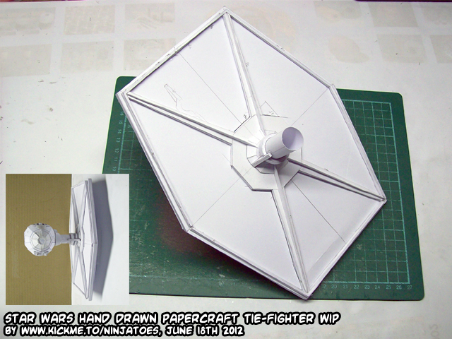 hand drawn papercraft TIE-fighter WIP 8 by ninjatoespapercraft
