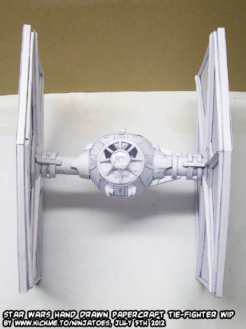 hand drawn papercraft TIE-fighter WIP 11 by ninjatoespapercraft