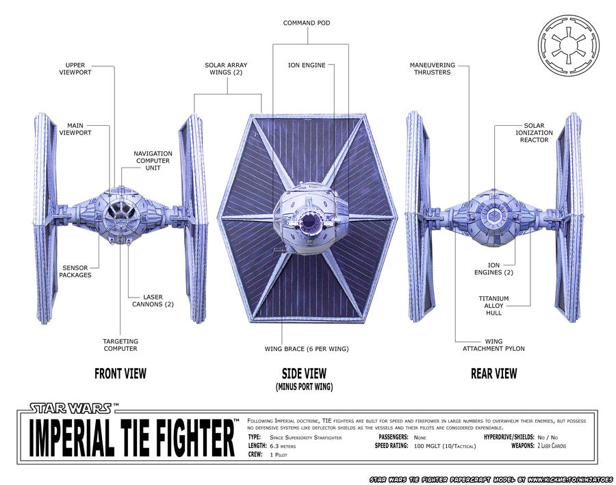 Papercraft Star Wars TIE-fighter schematics by ninjatoespapercraft