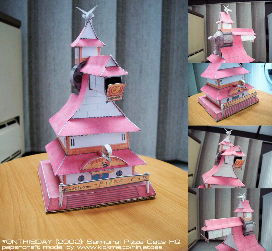 10yr anniversary! papercraft Samurai Pizza Cats HQ by ninjatoespapercraft