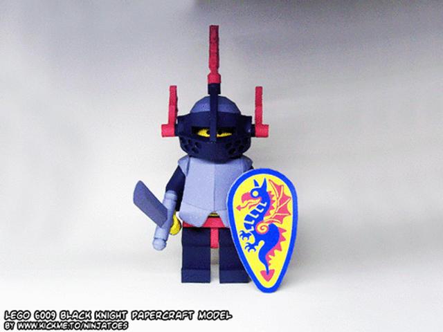 Papercraft LEGO Castle Black Knight minifig turnin by ninjatoespapercraft
