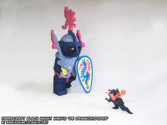 Papercraft LEGO Black Knight minifig vs. dragon by ninjatoespapercraft