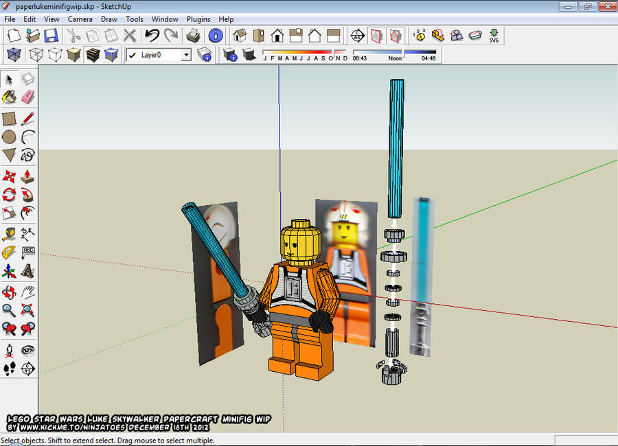 Papercraft LEGO Luke lightsaber WIP by ninjatoespapercraft