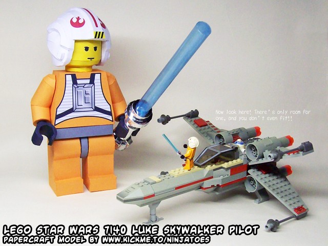 Papercraft LEGO X-wing 7140 minifig Luke by ninjatoespapercraft