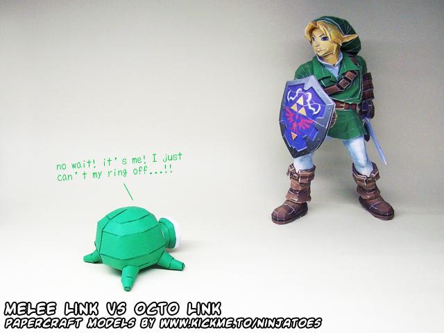 papercraft Melee Link versus Octo Link by ninjatoespapercraft