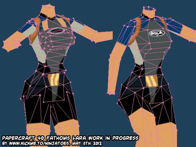 Papercraft Tomb Raider II 40 Fathoms Lara WIP2! by ninjatoespapercraft
