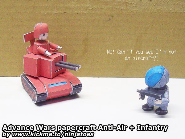 Advance Wars papercraft Infantry vs Anti-Air by ninjatoespapercraft