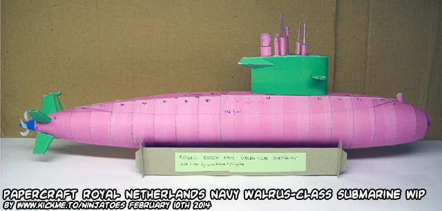 Papercraft Walrus-class submarine WIP 3 by ninjatoespapercraft