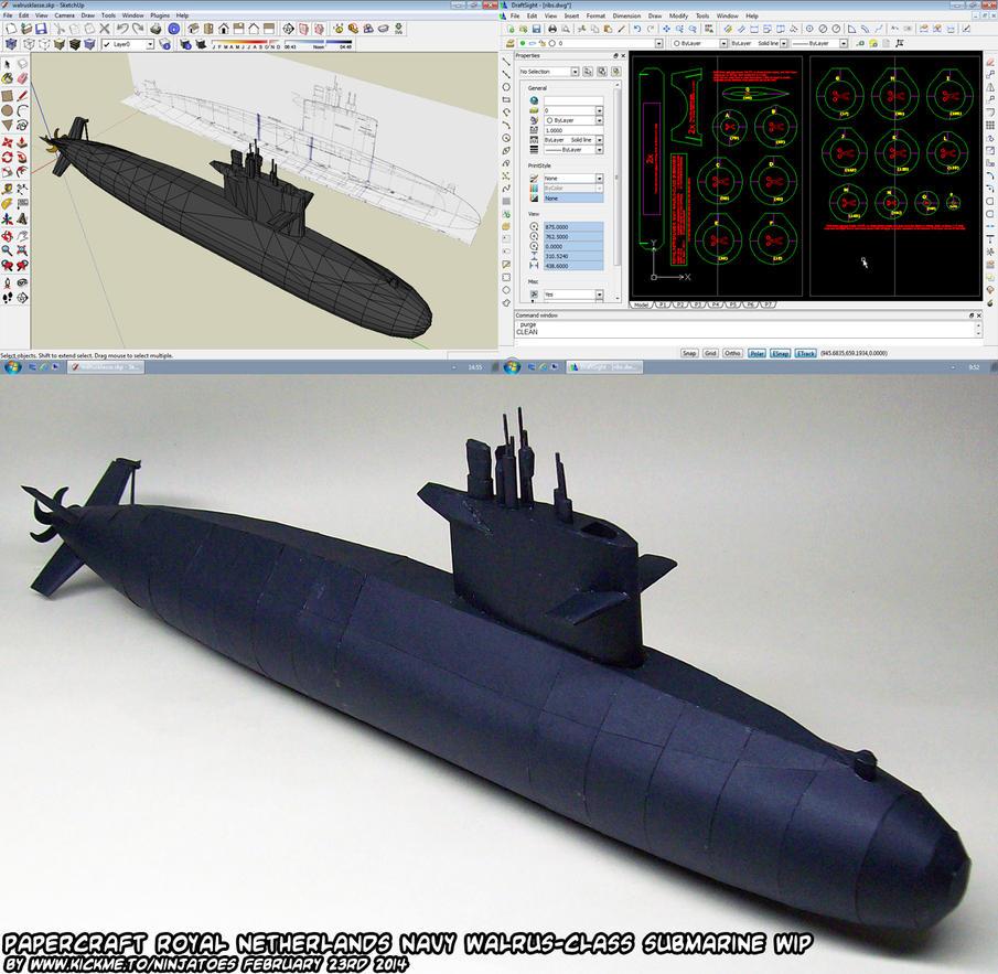 Papercraft Walrus-class submarine WIP 5b by ninjatoespapercraft