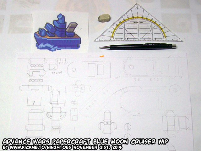 Papercraft Advance Wars BM Cruiser WIP 1 by ninjatoespapercraft