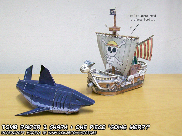 Papercraft Going Merry vs Great White shark by ninjatoespapercraft