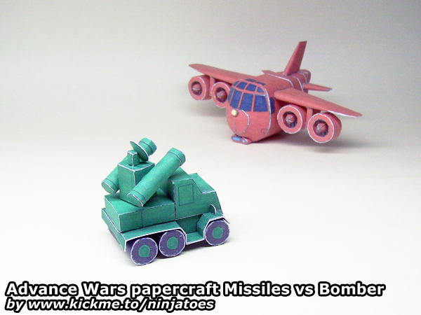 papercraft Advance Wars GE Missiles vs OS Bomber by ninjatoespapercraft