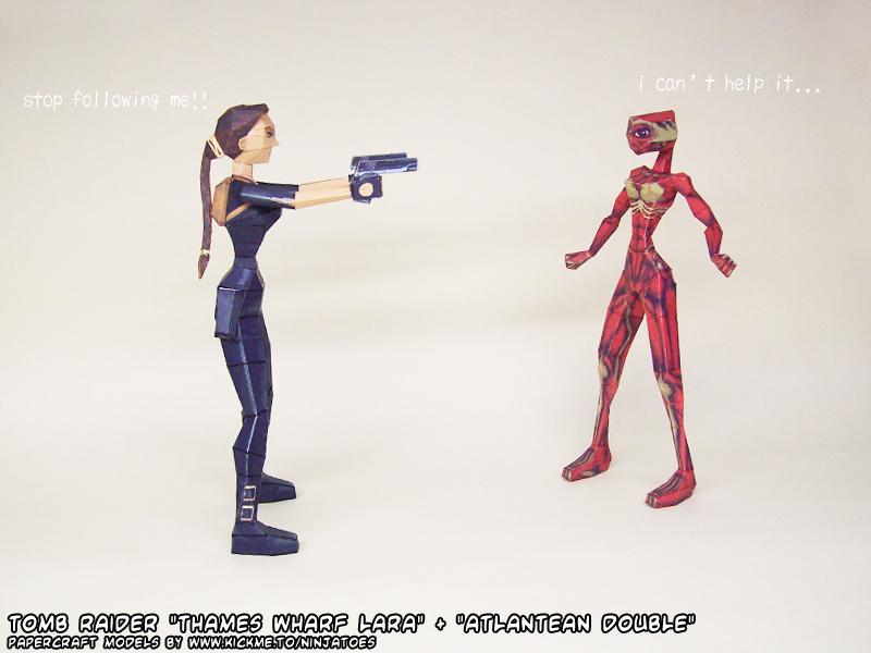 Tomb Raider 3 Lara vs Tomb Raider 1 double by ninjatoespapercraft