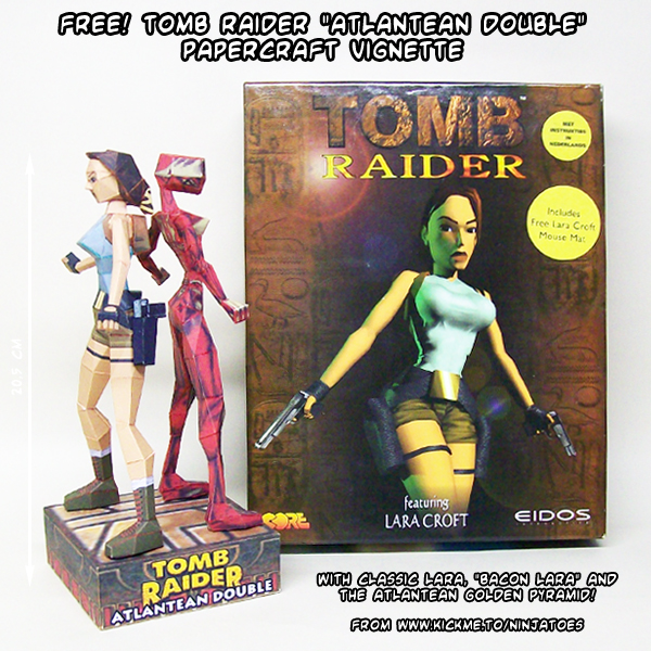 Tomb Raider 1 Atlantean Double vignette papercraft by ninjatoespapercraft