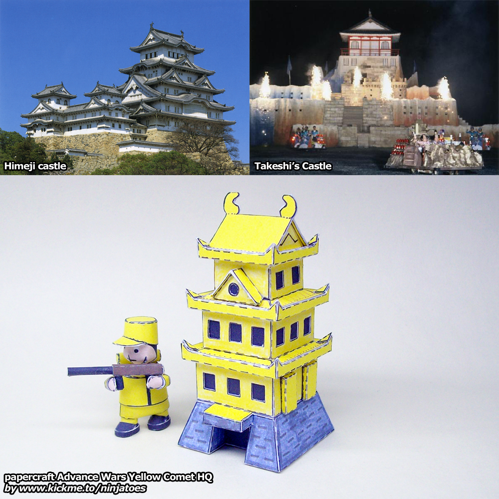 yellow comet papercraft japanese castle hqninjatoespapercraft
