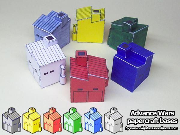 SIX papercraft Advance Wars Bases! by ninjatoespapercraft