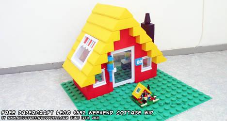papercraft 1990 LEGO set 6592 Weekend Cottage