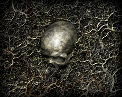 tatooed skull by nachoriesco