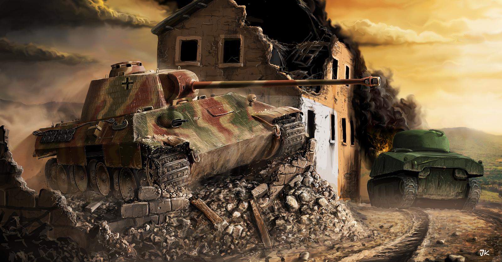 рисунок Panther vs Sherman