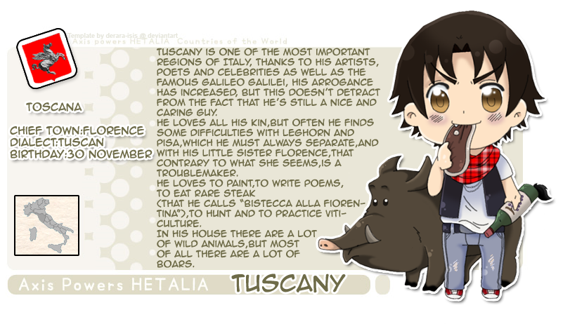 Hetalia Profile: Tuscany (Leonardo Vargas) by P-ChanAndP-Kun