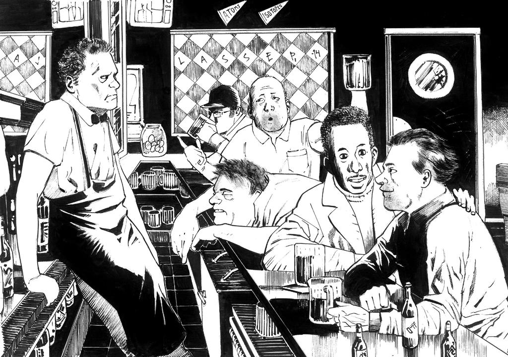 Moe's Tavern b'n'w by Soposoposopo