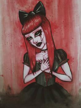 broken and bleeding doll.