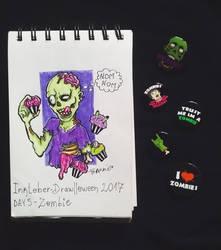 Inktober - Drawlloween / day 5: zombie by Frankienstein