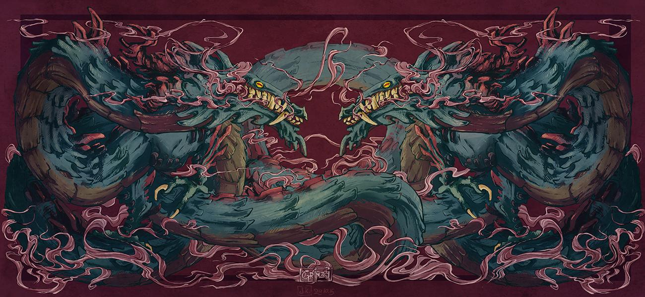 Pink smoke dragon by grimzzi