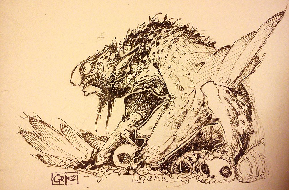 Inktober 13 bearded vulture harpy by grimzzi