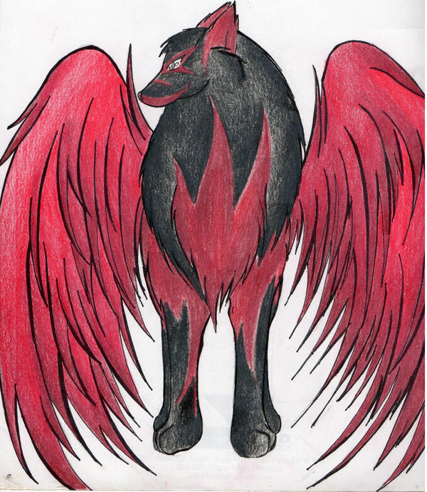 Black And Red Winged Wolf | www.pixshark.com - Images ...