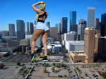 Blonde giantess at the  lot parking
