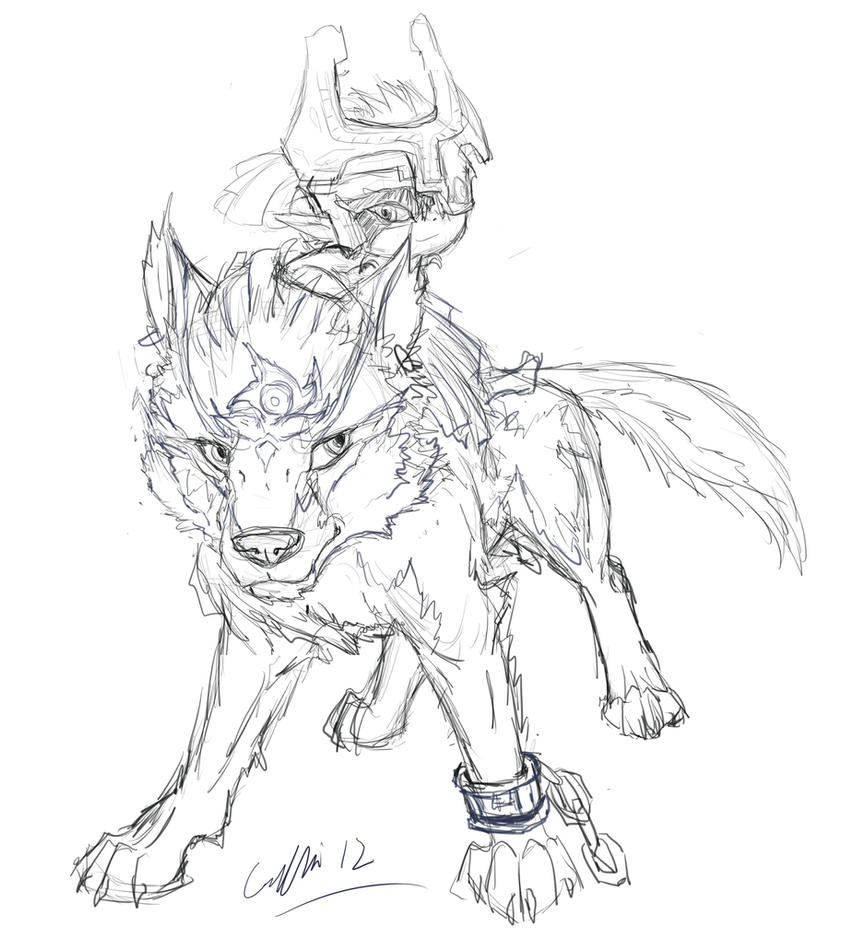 Link and midna sketch by silverflight on deviantart for Midna coloring pages