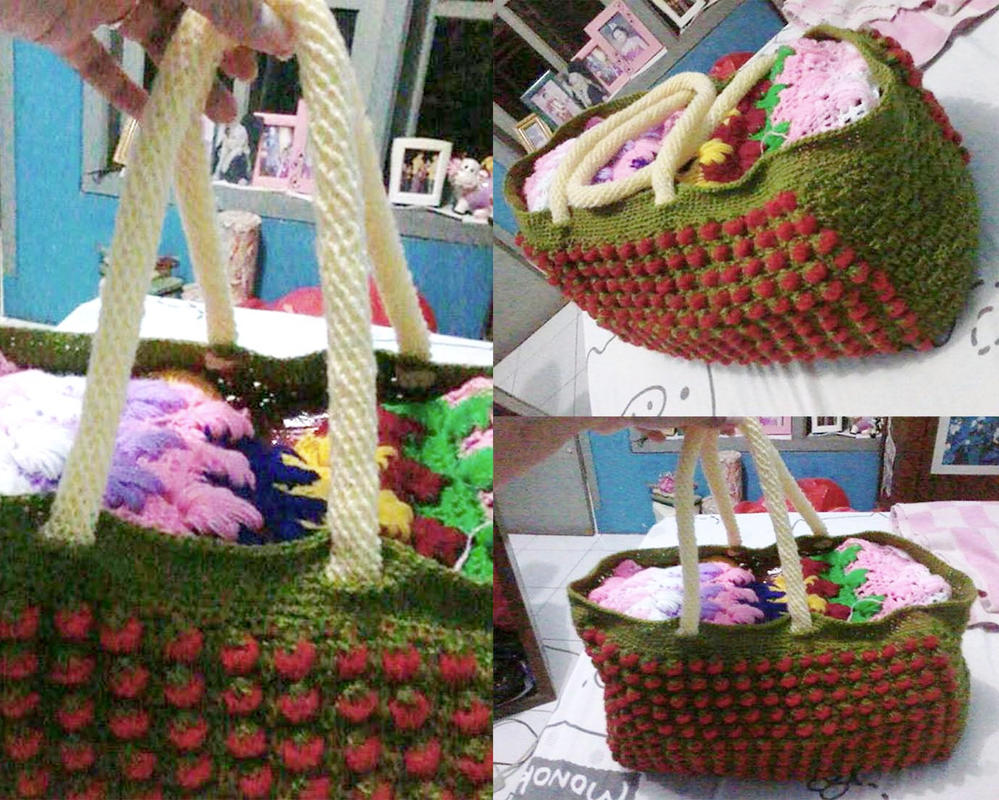 Strawberry Stitch Crochet Bag by seawaterwitch