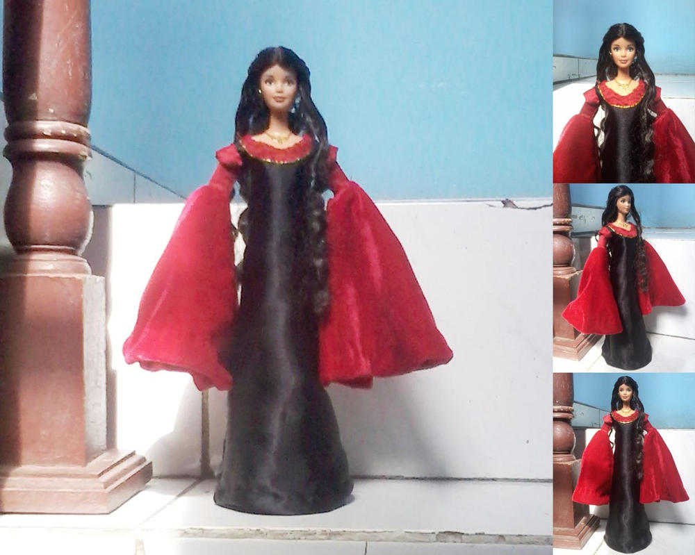 Barbie as Arwen in red dress by seawaterwitch