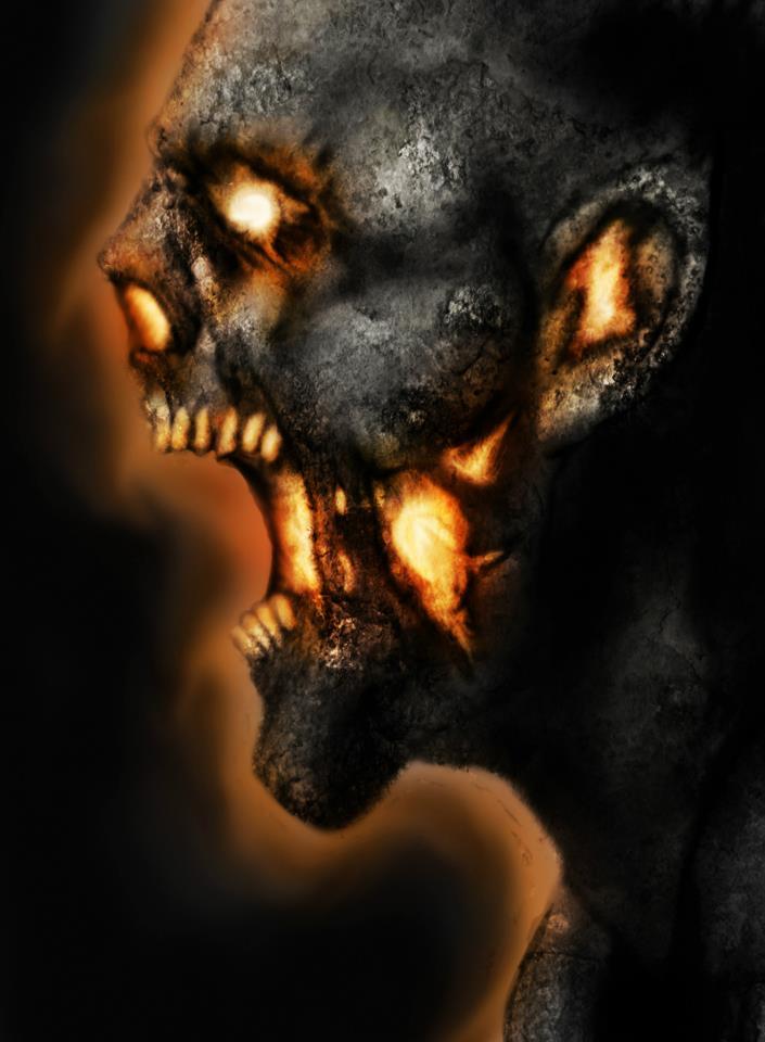 Burning Skull by DarkMatteria