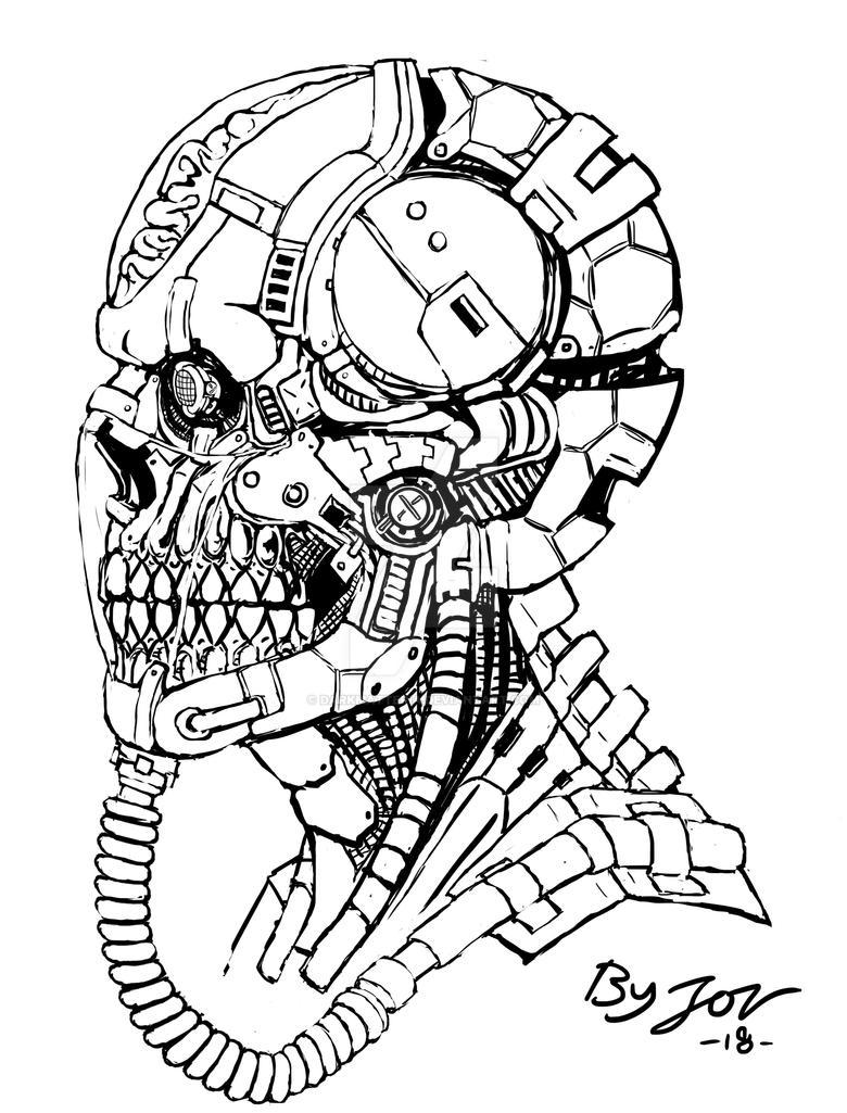 Cyborg Skull by DarkMatteria