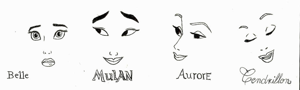 Belle - Mulan - Aurore - Cendrillon by mliddam