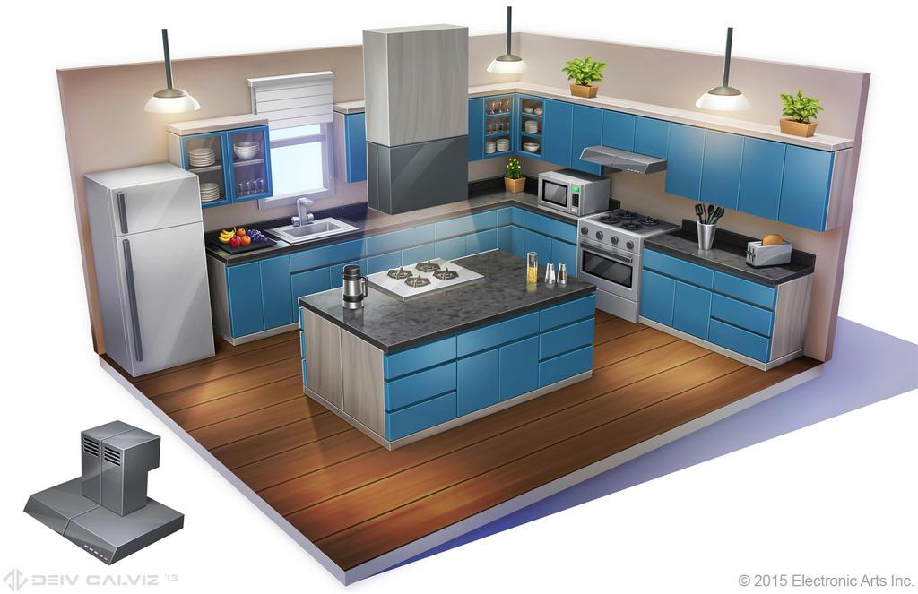 Sims 4 - Suburban Contempo Kitchen Concept by DeivCalviz
