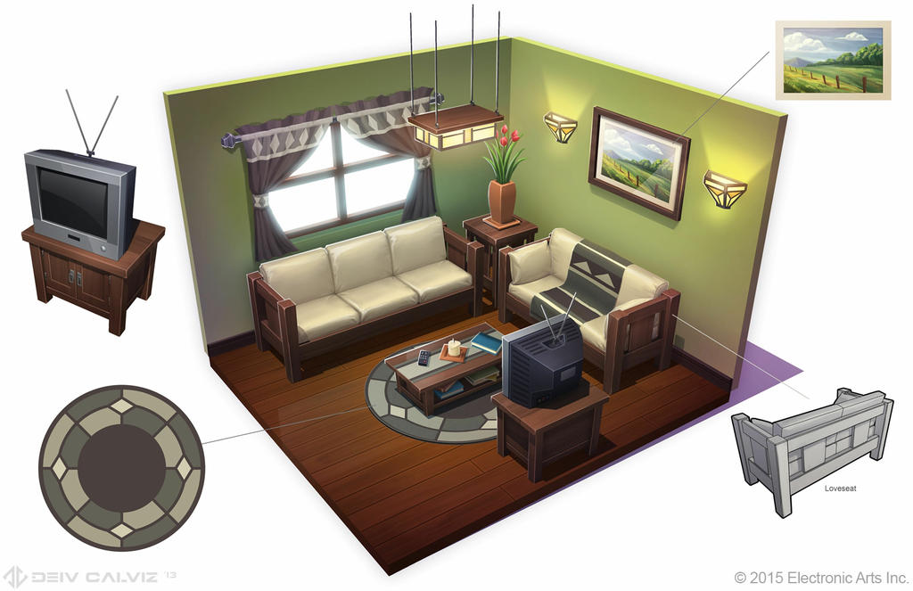 Sims 4 mission living room entertainment area by for 3 star living room chair sims