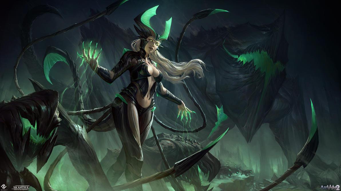 Akantha - Goddess of the Underworld Illustration by DeivCalviz