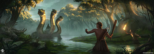 Hercules vs Hydra by DeivCalviz