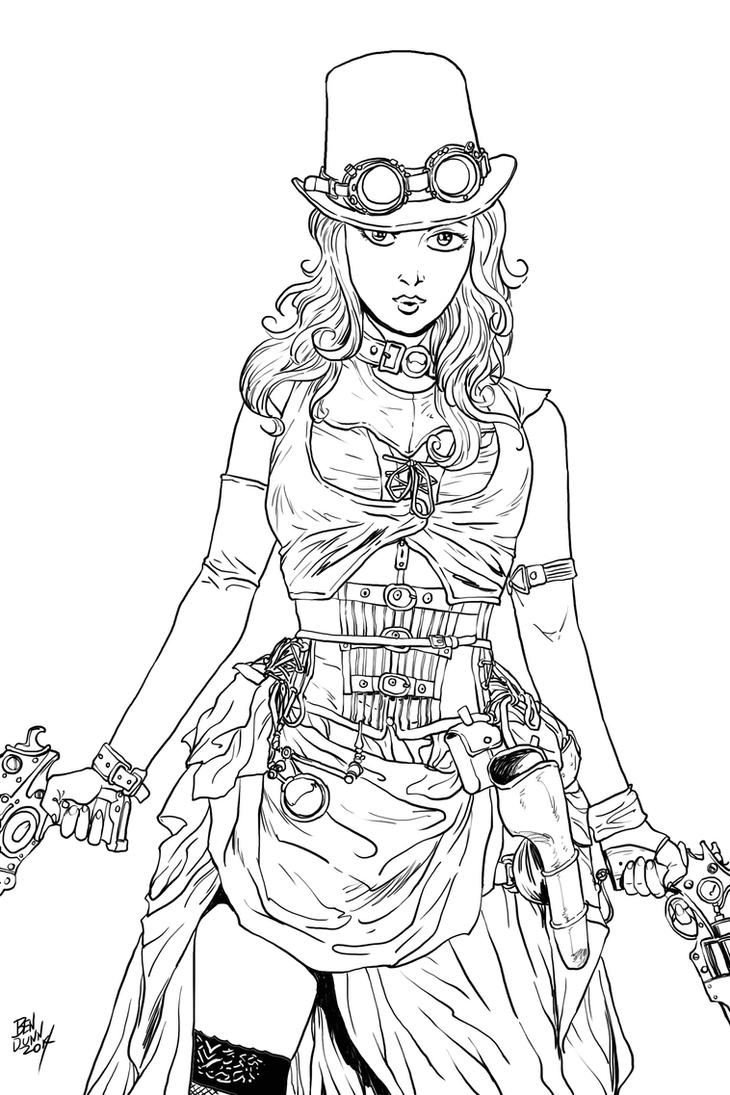 Steampunk girl pin up by dogsupreme on deviantart - Coloriage manga rock ...