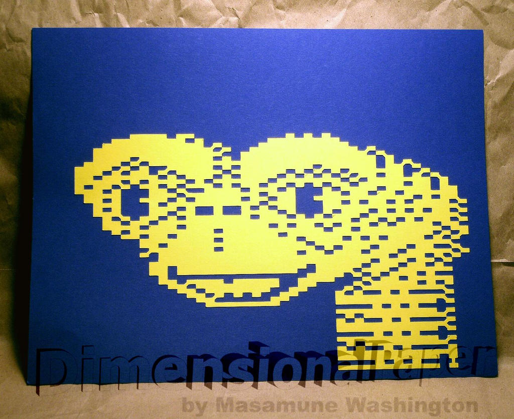 Et Pixel Art In Colored Cardstock By Masamune Washington On