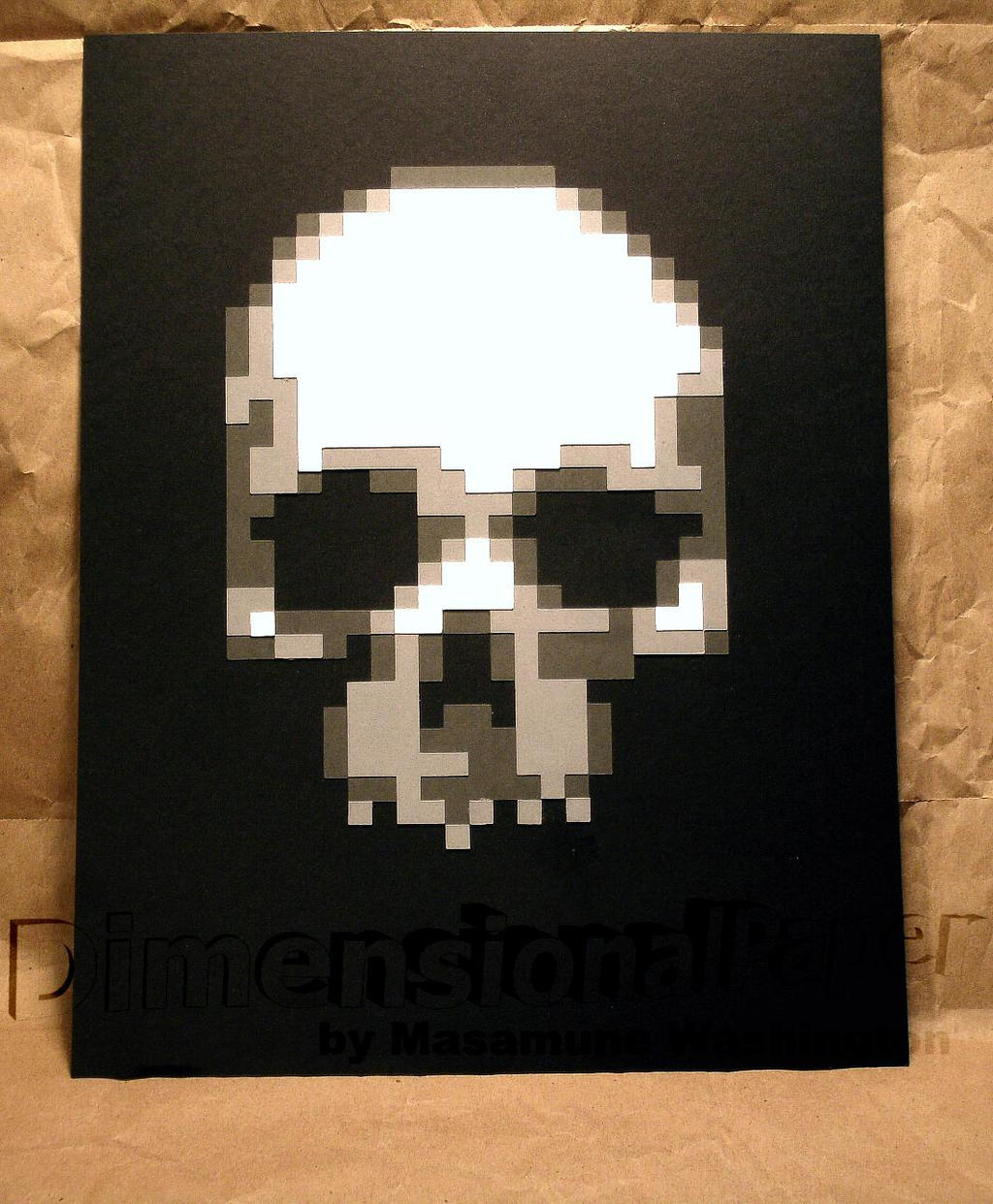Simple Skull Pixel Art In Colored Cardstock By Masamune