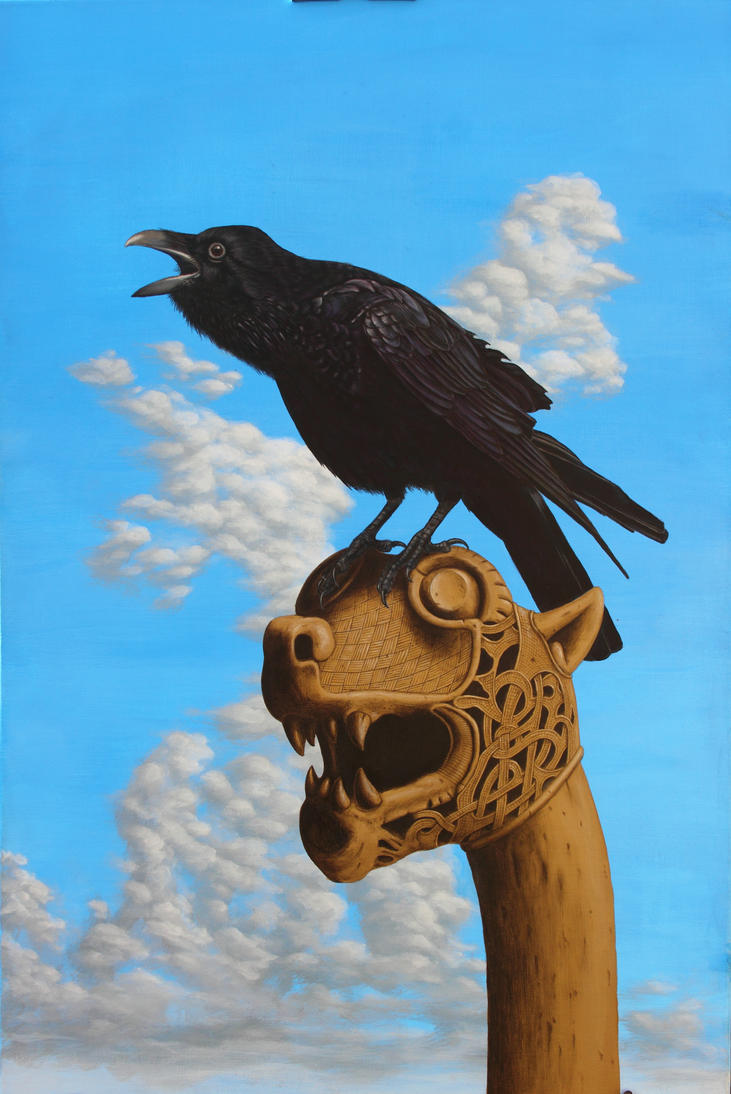 The Raven. Acrylic on canvas by Rick-Lilley