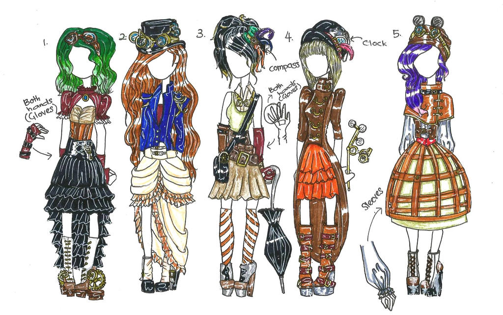 points adoptable  steampunk outfits  closed  by haneeys1nsyeerah on deviantart