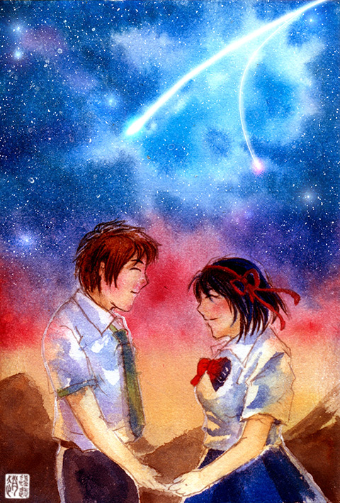 Taki and Mitsuha by zhaoliaoyuan